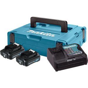 Makita Set Baterija i Punjač Li-ion 2x10,8V 2,0Ah + BL1021B Indikator + DC10SA + Makpac | 197657-7  z3/20