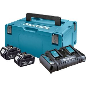 Set Baterija i Punjač Makita Li-ion 2x18 V 4,0Ah BL1840B + DC18RD + Makpac 197504-2